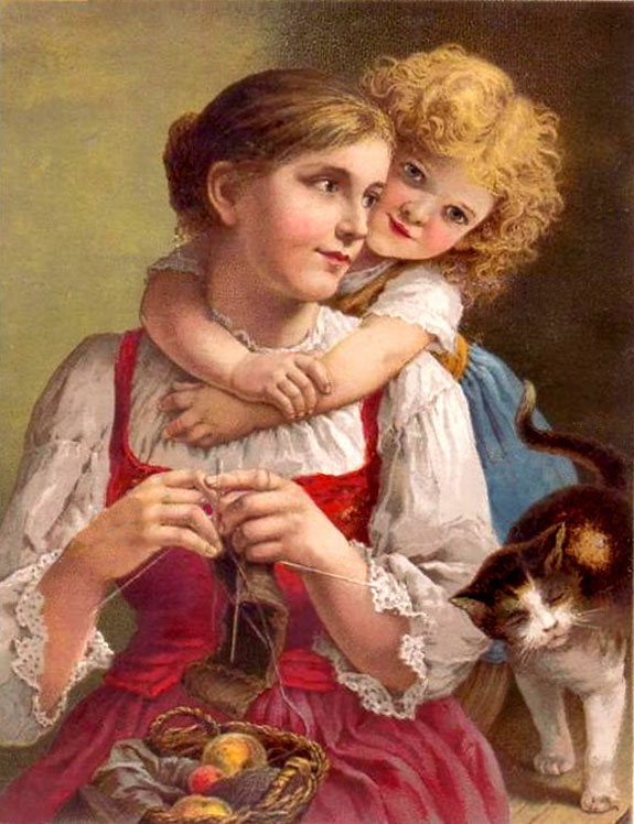 Woman Knits With Child